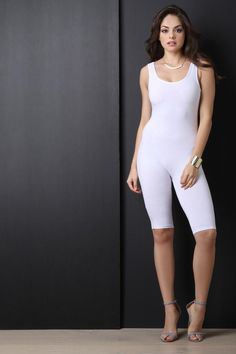 391f88d779ba Shop Basic Scoop Neck Knee Length Romper featuring a jersey knit  fabrication