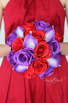 Red and Purple wedding flower ideas with purple and red roses and purple tipped calla lilies in silk fake flowers
