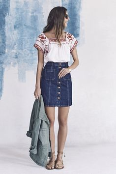 Madewell's Spring Collection | A Cup of Jo - buttonfront denim skirt, boho blouse