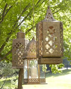 """Marrakesh"" Burnished Outdoor Lanterns at Horchow. For our patio- bring home to Miami for the hubby."