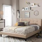 Quincy Beige Queen Upholstered Bed, Dark Beige