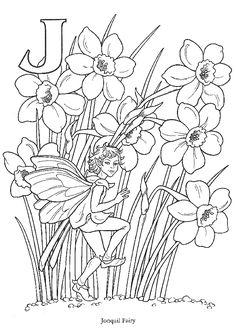 Coloring page jonquil fairie  - Kleurplaat bloemen elf