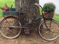I bought my old bike at a swap meet and the baskets at garage sales. I'm going to change the decor with the seasons:) it's been a fun project! Old Bikes, Fun Projects, Bicycle, Seasons, Baskets, Diy Ideas, Garage, Stuff To Buy, Change