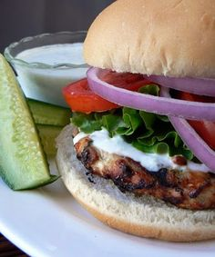 Turkey and spinach feta burgers. It is almost grilling weather! This is a great alternative for those massive beefy cave man burgers.