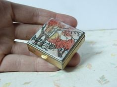 Vintage 1950's Watercolor Pill Box Fall Trees by RavishingRetro, $20.00