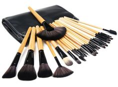 From 4.99 Kabalo 24-piece Professional Makeup Brushes Set With Wooden Handle / Make Up Brush For Foundation Blusher Mascara Cosmetics Etc - With Free Faux Leather Carry Pouch