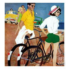 """Too Slow for the Crowd - Saturday Evening Post """"Leading Ladies"""", March 1961 Giclee Print by Joe deMers Bike Poster, Retro Bike, Saturday Evening Post, Bicycle Art, Bicycle Painting, Pulp, Poster Prints, Art Prints, Reproduction"""
