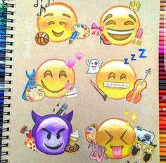 Emoji Drawings, Kawaii Drawings, Colorful Drawings, Disney Drawings, Cute Drawings, Emoji Love, Cute Emoji, Goodnotes 4, Smileys