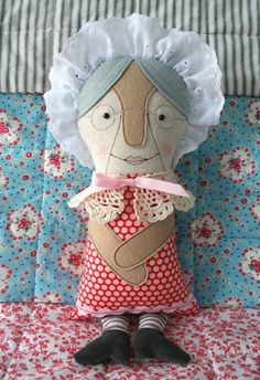 Grandma and Wolf two-faced doll pattern available from mmmcrafts