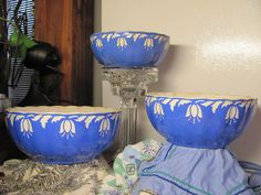 Early 1900s, Villeroy and Boch, Dresden, Saxony, Blue Tulip Mixing Bowls- 3Nesting Bowls. $120.00, via Etsy.