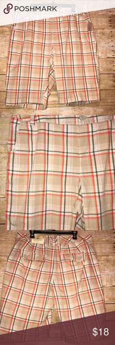 NWT CATO Shorts (A-13) CATO Fashion plaid shorts New With Tags Button pockets on the back  2 side pockets  Size 18W Tan, Coral, Olive Green in color CATO Shorts Bermudas