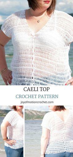 Caeli top Crochet Pattern. Crochet top off shoulder. Crochet top beginner. Crochet top beach. Crochet top lacy. Crochet top plus size. #crochetpattern #crochet #crochetwomans #crochetforher #bohemiancrochettop