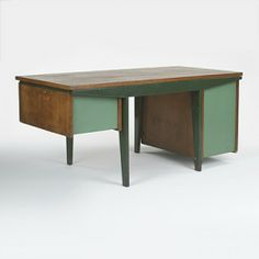 Jean Prouvé; Aluminum, Enameled Steel and Oak 'Standard' Desk, 1940s.