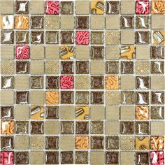 "Burgundy Brown Gold Glass Mosaic Kitchen Backsplash Tile, 12"" X 12"" Sheet - contemporary - Mosaic Tile - Backsplash"