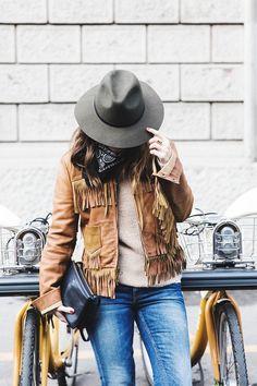 Fringe Fashion Trend: Sara Escudero is wearing a camel Ralph Lauren jacket