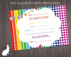 Rainbow party invitations template birthday party, free printable birthday invitations for kids freeprintables, Free Party Invitation Templates, Rainbow Birthday Invitations, Free Printable Birthday Invitations, Rainbow Birthday Party, Templates Free, Invitations Online, Invitation Ideas, Printable Templates, Print Invitations