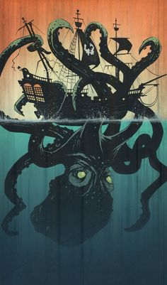 Octopus illustration by Tyler Champion #kraken #tentacles #ship