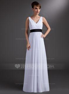 2cfec005ec3 But grey with a navy blue sash instead. Bridesmaid Dresses - A-Line Princess  V-neck Floor-Length Chiffon Charmeuse Bridesmaid Dress With Sash