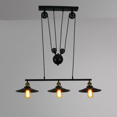 Industrial Retro Iron Mickey Pulley Ceiling Light Pendant Retractable Lamp Cafe #Unbranded #Industrial