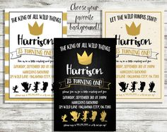 The King Of All Wild Things Invitation by RadBoyMomDesigns on Etsy