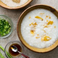 This simple congee rice porridge recipe is made from chicken stock, rice and fresh ginger.