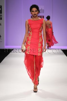 Peach patiala with antique embroidery