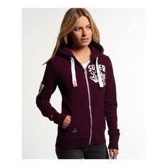 Superdry Lucky Aces Zip Hoodie ($85) ❤ liked on Polyvore featuring tops, hoodies, purple, superdry hoodie, purple hoodie, zip hoodies, hooded sweatshirt and hooded pullover