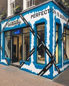 "DIESEL, Carnaby Street, London, UK, ""We Cross, Crisscross and Recross... Perfection is Boring"", creative by Tenn Ltd., pinned by Ton van der Veer"