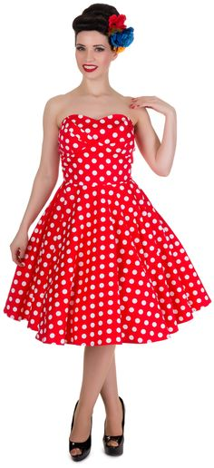 Red Polka Dot Strapless Retro Party Dress