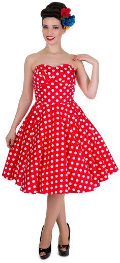 Red Polka Dot Strapless Retro Party Dress