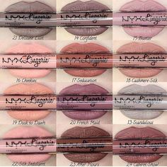 Nyx Lip Lingerie liquid lipsticks worn by swatches on paler skin Makeup Swatches, Makeup Dupes, Makeup Brands, Skin Makeup, Nyx Lip Lingerie Swatches, Nyx Lipstick Swatches, Nyx Dupes, Matte Nyx, Nyx Matte Liquid Lipstick