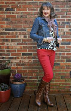 red and leopard, denim jacket