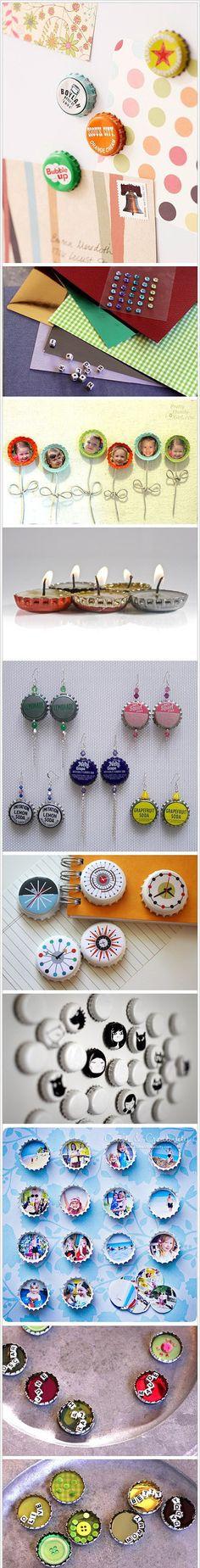 Bottle cap earrings, centerpieces for hair clips & tealites For hair clips and earrings, ideas to paint on: swirls, clocks, bugs, eyeballs, bats, scrollwork, sideshow bullets, skulls, stripes, hearts, letters/fonts,