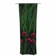 """Cyndi Steen """"Today's Therapy"""" Green Red Decorative Sheer Curtain"""