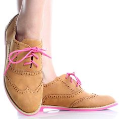 Tan Retro Peforated Cut Out Lace Up Oxford Brogues Womens Flat Shoes
