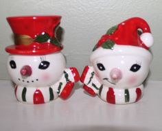 Vintage Christmas Ceramic Mr Mrs Snowman Salt Pepper Shakers-Japan