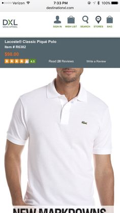 White Classic Pique Lacoste Polo Shirt Size LT/7L Big&Tall Brand New Retail $98