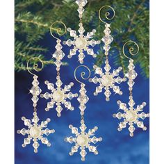 "Holiday Beaded Ornament Kit-Snow Crystal Danglers 4""""X2"""" Makes 8"