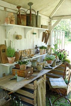 """Open shed part at end of detached garages would be perfect spot for this...already have a water source there---connected to the """"free"""" well water. Would be so handy for potting and storing gardening tools etc."""