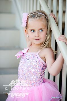 Little Girl Pink Dance Costume B Couture Photography