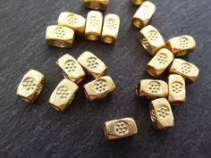 20 Chunky Rectangle Flower Stamped Beads  22k by LylaSupplies