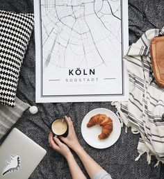Map poster of Köln, Germany. Print size 50 x 70 cm. Custom black and white map posters online. Mapiful.com.
