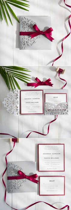 New-Released Wedding Invitation Design and Matched Wedding Decor Ideas by elegant burgundy and gray laser cut wedding invitations Laser Cut Wedding Invitations, Gold Invitations, Wedding Invitation Design, Invitations Online, Invitation Ideas, Best Wedding Colors, Winter Wedding Colors, Wedding Cards, Diy Wedding