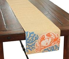 Table Runner With Crab and Coral Motif - North Breeze