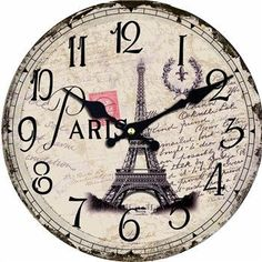 We are loving this: Oversized Paris T.... Found ON SALE: http://www.rousetheroom.com/products/oversized-paris-theme-wooden-wall-clock-round?utm_campaign=social_autopilot&utm_source=pin&utm_medium=pin