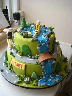 Birthday cake for a very active man, canooning, running. Gorgeous Cakes, Amazing Cakes, Fondant Cakes, Cupcake Cakes, Cupcakes, Waterfall Cake, School Cake, Sea Cakes, Grandpa Birthday