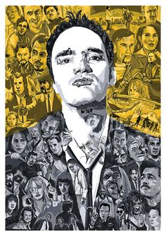 Quentin Tarantino.    A portrait of the director made up of images and characters from his films.