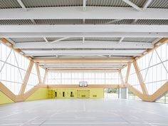 Angular polycarbonate windows create tessellating shapes across the facade of this gymnasium in France, a winner at this year's Architizer A+Awards Gym Design, School Design, Urban Design, Hall Design, Gymnasium Architecture, Architecture Design, Education Architecture, Exposed Trusses, Learning Spaces