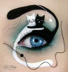 augen schminken halloween katzen weiß schwarz