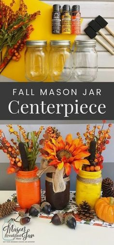 What are your favorite Mason jar craft ideas for fall décor? Let this beautiful fall Mason jar centerpiece inspire you. Simply paint three Mason jars with vibrant fall colors, add twine and fall flowers to create this stunning DIY fall décor. #falldecor #diyfalldecor #masonjarcrafts #masonjarcenterpiece